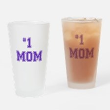 #1 Mom in purple Drinking Glass