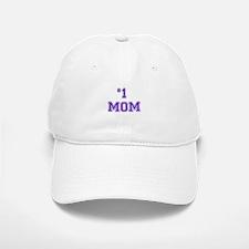 #1 Mom in purple Baseball Baseball Cap