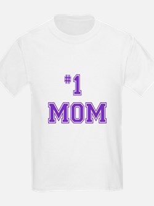 #1 Mom in purple T-Shirt