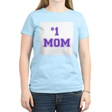 #1 Mom in purple T-Shirt