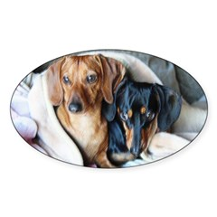 Needlepoint Look Dachshund Do Oval Decal