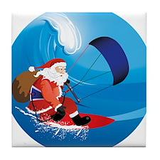 Santa KiteSurf Tile Coaster