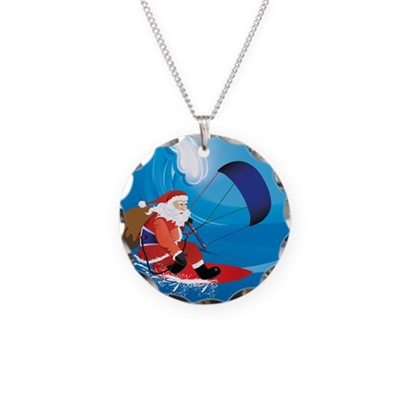 Santa KiteSurf Necklace Circle Charm