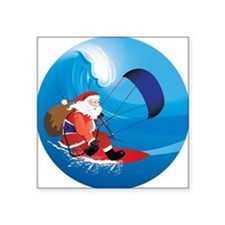 "Santa KiteSurf Square Sticker 3"" x 3"""