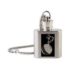 9Ball_Man_Dk_mens_wallet Flask Necklace