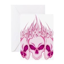 Flaming Pink Skulls Greeting Card