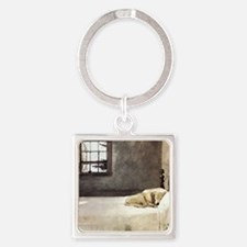 yellow lab wallet andrew wyeth cop Square Keychain
