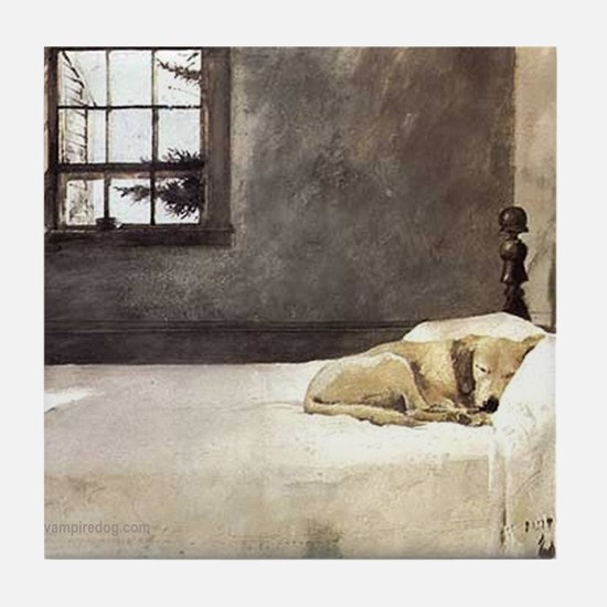 yellow lab wallet andrew wyeth copy Tile Coaster