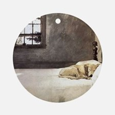 yellow lab wallet andrew wyeth copy Round Ornament
