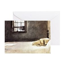 yellow lab shoulder bag andrew wyeth Greeting Card