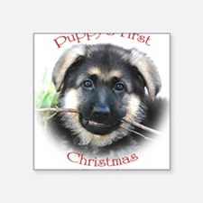 """puppys first christmas Square Sticker 3"""" x 3"""""""