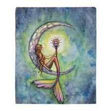 mermaid moon 9 x 12 cp Throw Blanket