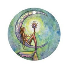 mermaid moon 9 x 12 cp Round Ornament