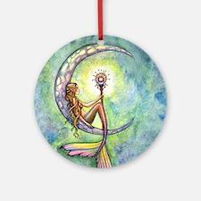 mermaid moon 9 x 12 cp Round Ornament