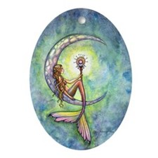 mermaid moon 9 x 12 cp Oval Ornament