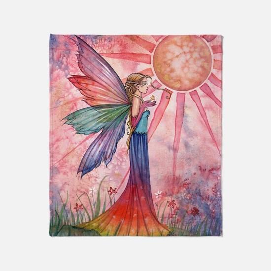 sunshine and rainbow 9 x 12 cp Throw Blanket