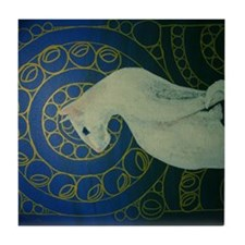 white cat sideways Tile Coaster