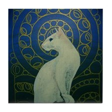 white cat 8X11 Tile Coaster