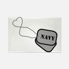 Navy Heart Dog Tags Rectangle Magnet