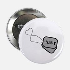 Navy Heart Dog Tags Button