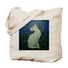white cat square Tote Bag