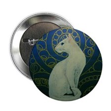 "white cat square 2.25"" Button"