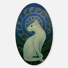 white cat oval Decal