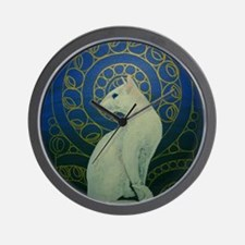 white cat oval Wall Clock
