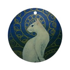 white cat oval Round Ornament