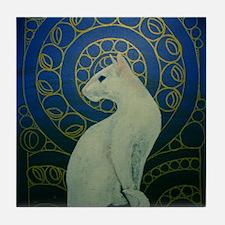 white cat oval Tile Coaster