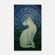 white cat oval Rectangle Car Magnet