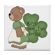 Irish girl teddy bear Tile Coaster