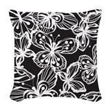 Black and white butterfly Woven Pillows