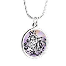 1Miniature Schnauzertouch Silver Round Necklace