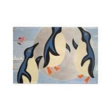 Penguins Playing with the Moon Rectangle Magnet