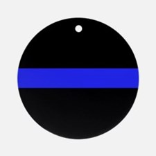 Police Thin Blue Line Ornament (Round)
