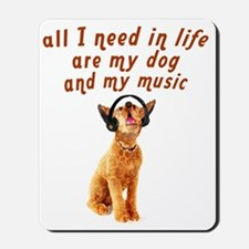 dog-and-music Mousepad
