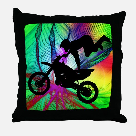 Motocross in a Psychedelic Spider Web Throw Pillow