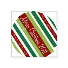 "stripesxmas2011 Square Sticker 3"" x 3"""