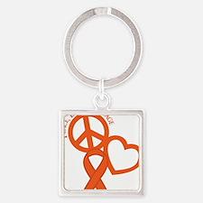 Orange, Courage Square Keychain