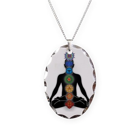 Subtle Body With Chakras Necklace Oval Charm