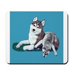 Siberian Husky and Puppy Mousepad