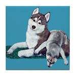 Siberian Husky and Puppy Tile Coaster