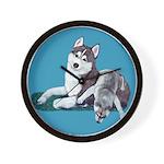 Siberian Husky and Puppy Wall Clock