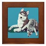 Siberian Husky and Puppy Framed Tile