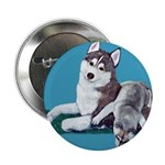 Siberian Husky and Puppy Button