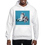Siberian Husky and Puppy Hooded Sweatshirt
