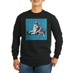 Siberian Husky and Puppy Long Sleeve Dark T-Shirt