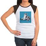 Siberian Husky and Puppy Women's Cap Sleeve T-Shir