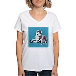 Siberian Husky and Puppy Women's V-Neck T-Shirt